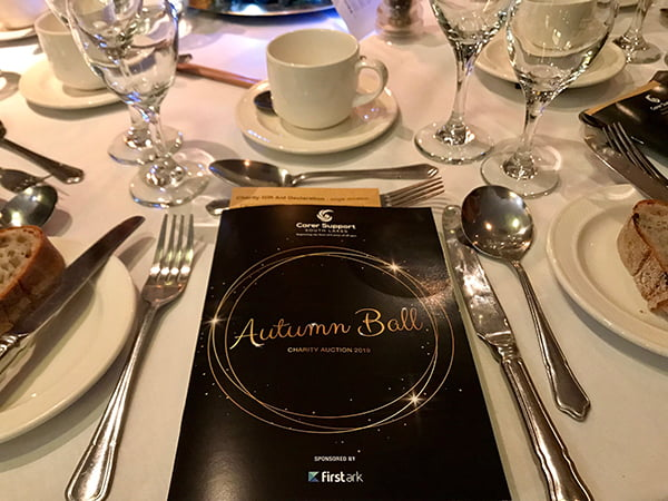Carer Support South Lakes Charity Autumn Ball table setting